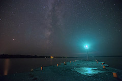 Perseids and Milky Way over Cornucopia Light (Sam Wagner Photography) Tags: milky way long exposure perseid meteor shower night sky astrophotography wisconsin lake superior cornucopia wi south shore green light beacon pier