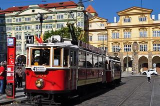 Tramway pragois, Malostranské náměstí, Mala Strana, Prague, République tchèque.