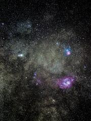 Lagoon- and Trifid Nebula (Erik de Klerck) Tags: astronomy astro astrophotography messier m20 m8 saturn saturnus messier20 messier8 lagoon nebula lagoonnebula trifidnebula stars star milkyway dss deepskystacker stacking stack night longexposure colour