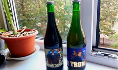 Ukrainian beer on my windowsill: stout 'Obama Hope' and Mexican lager 'Trump, President of the Divided States of America'. August 16, 2018 (Aris Jansons) Tags: bottles windowsill flowers window ukrainian beer trump obama lager stout lviv