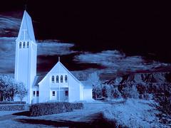 Selfoss Church (Artypixall) Tags: iceland selfoss church belltower infraredeffect blackandwhite faa