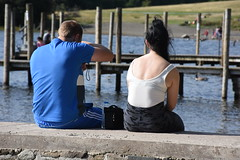 Waiting for the Boat (Bury Gardener) Tags: nikond7200 nikon snaps 2018 keswick england cumbria uk derwentwater lakedistrict lake streetphotography street streetcandids candid candids people peoplewatching folks strangers