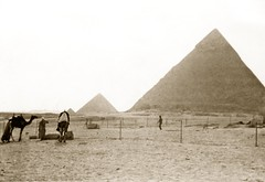 March 1942 - Arab cameleers & the pyramids of Khafre, Menkaure & Queens, at Giza, Egypt (aussiejeff) Tags: ww2 wwii desert war army ancient historic vintage jeffc aussiejeff egypt giza nazlat samman pyramid khafre queens camel arab menkaure australia wonder middleeast sepia restore archaeology