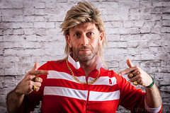 80s Fancy Dress (#Weybridge Photographer) Tags: track suit tracksuit wig blond blonde mullet man self selfie studio portrait adobe lightroom canon eos dslr slr 5d mk ii mkii 1980 1980s 80s fancy dress dressing up gold chain rings jewellery