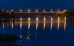 Golden Reflections - Bridge over the Bay (Merrillie) Tags: night blackwall landscape water reflections city nighttime newsouthwales homes lights brisbanewater sthubertsisland australia nightlights mountains woywoy lines nightscape centralcoast town bay