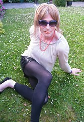 Green fingers (Sometimes Emma) Tags: tgirl transvestite tranny crossdresser wig makeup blouse skirt leggings flats outdoor feminine fun