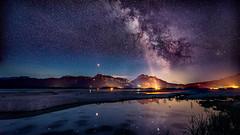 Der Mond und die Milchstraße (Klaus Steinert) Tags: milkyway nightshot landscape füssen bavaria allgäu stars reflexions forggensee moon