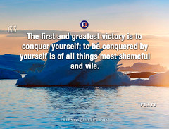 Plato Quote first greatest victory conquer (Friends Quotes) Tags: be conquer conquered first greatest greek most philosopher plato popularauthor shameful things victory vile yourself