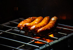 Grilled Sausages (Gentilcore) Tags: andouille camp camping clarkcounty cook cooking creole dark dog evening goldbutte grate hot light louisiana nationalmonument nevada night open outdoors park southern travel visit barbecue bbq cuisine delicious dinner flame french gill glistening grill grilled grilling kiss kissed link meal meat monument national places salsiccia sausage smoke sparkling stove tasty unitedstates us