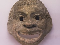 Terracotta mask, probably intended to represent an african slave, Sicily, 350 BC (Emma Nibaru) Tags: nikon nikond7200 london britishmuseum archeology mask terracotta ancient turquoise cultures