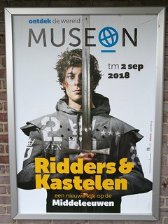 Advertisement for an exhibition about knights & castles
