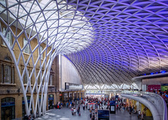 Kings Cross train station, London (Janet Marshall LRPS) Tags: trains railway station platform architecture modernarchitecture kingscross explored