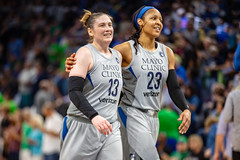 Lindsay Whalen and Maya Moore leave the court at halftime in the Minnesota Lynx vs Chicago Sky game at Target Center on August 14 (Lorie Shaull) Tags: amberstocks minnesotalynx lynx wnba basketball womensbasketball lindsaywhalen mayamoore
