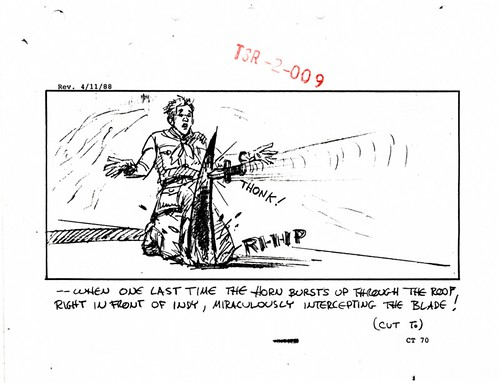 Storyboard representing deleted gags from the Young Indy train chase sequence, dated April 11, 1988. 21 of 24
