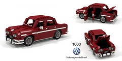 Volkswagen do Brasil 1600 Sedan (lego911) Tags: vw volkswagen 1600 sedan saloon 1970 1970s classic do brasil brazil brazillian e97 boxer pancake type1 beetle south america auto car moc model miniland lego lego911 ldd render cad povray coffinjoe
