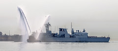 Homecoming (Paul Rioux) Tags: marine royalcanadiannavy canadianforces hmcs vancouver frigate warship ship vessel fire boat firebrand water spray fountain wet ceremony welcome military esquimalt cfb harbour prioux