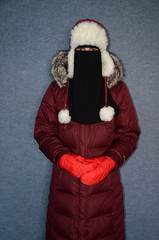 Slave Girl (Warm Clothes Fetish) Tags: slave sweat maid torture hijab niqab boots coat fur hot apron fleece girl warm clothed washerwoman suit waitress hat