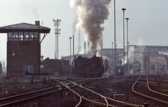 Bw Halberstadt DR  |  1989 (keithwilde152) Tags: bw halberstadt dr ddr east germany br5035 br132 depot town signal box dampf tracks steam diesel locomotives heizlok spring 1989