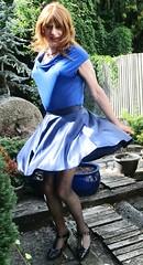 Great 4 Dancing (Amber :-)) Tags: blue satin skater skirt tgirl transvestite crossdressing