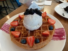 Waffle with Lavender Ice Cream (:Dex) Tags: strawberry blueberry waffle icecream dessert fluffed cafe yummy food kualalumpur malaysia fruit