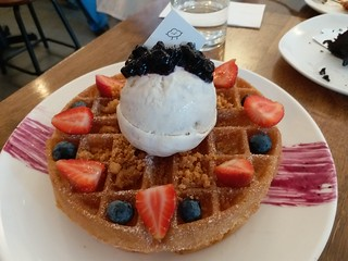 Waffle with Lavender Ice Cream
