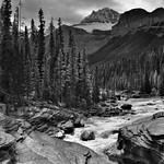 Mistaya River Flowing By and Through the Peak of the Canadian Rockies (Black & White, Banff National Park) thumbnail