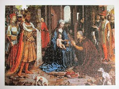 The Adoration of the Kings (pefkosmad) Tags: theadorationofthekings jangossaert art painting fineart religion incomplete onepiecemissing 500pieces masterpieceseries whitman vintage used secondhand hobby leisure pastime