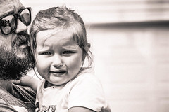 Doesn't want to go home (spyc-red) Tags: nikon candid upset fatherdaughter daddydaughter blackandwhite sad toddler girl crying cry bnw