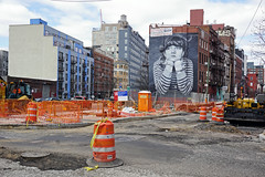 Mural of photographer Steven Paul showing Nina Attal at Broadway, Williamsburg / Brooklyn (SomePhotosTakenByMe) Tags: murald wandbild kunst art baustelle construction stevenpaul paul ninaattal attal broadway urlaub vacation holiday usa america amerika nyc newyork newyorkcity williamsburg brooklyn stadt city outdoor gebäude building architektur architecture