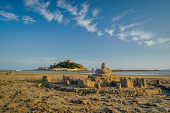 Little & Large (Neil Clark) Tags: clouds cornwall eveninglight greatbritain landscape manualfocus marazion pentaxa2450mmf40 sandcastles sonynex6 stmichaelsmount summer westcountry beach sea sky sand