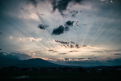 Early Summer Miracles (jasohill) Tags: 2018 color sunset tohoku nature beams city iwate drama summer adventure love hachimantai photography life sky power japan evening rays