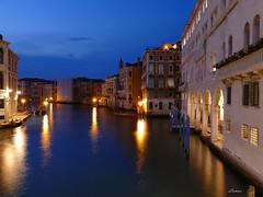 Grand Canal (lamnn92) Tags: rialtobridge iconic venice venezia bluehour blue colors reflections grandcanal buildings architecture palazzo sky clouds nightphotography longexposure travel fz1000