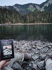Goat Rocks, Day 2 - Reading a suitably-sized-for-backpacking Tao Te Ching while the sun sets on Lost Lake (chadcmarsh) Tags: randle washington unitedstates us