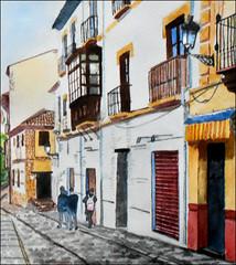 Carrera Del Darro, Granada, Spain, watercolour (detail) (Dr Graham Beards) Tags: albaicin andalucia granada carreradeldarrogranadawatercolor spain street watercolor watercolour
