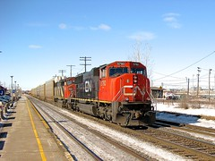 Eastbound with EMD power (Michael Berry Railfan) Tags: cn5557 cn5792 cn canadiannational kingstonsub dorval montreal quebec train freighttrain sd60f emd gmd