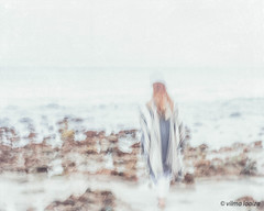 Morning by the Sea 9.. (vilmaca) Tags: ocean woman one sand rocks icm painterly poncho earlymorning pacificocean nicholascanyonbeach