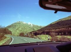 Driving to Glencoe with Michael. (wojszyca) Tags: fuji gsw680iii 6x8 120 mediumformat fujinon sw 65mm kodak portra 400 epson v800 scotland landscape car drive road mountains
