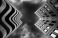 Skyscraper Pacman (alexring) Tags: mériadeck bordeaux france architecture modern 70s lookingup nikon d750 bw alexring