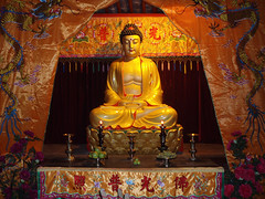 Buddha in a Temple of Baisha Ancient Town (Wolfgang Bazer) Tags: baisha village ancient town lijiang yunnan china buddha temple interior naxi mu family