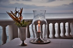 Ready for dinner (Carlos A. Aviles) Tags: candle vela candlelight vacations vacaciones travel viajes flower flor mar ocean sky cielo color