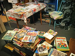 Books & images to inspire near work desk (jasoux) Tags: workstation books illustration oldbooks topper comicbook annual book childrensbook inspiration drawings workdesk chooseyourownadventure comics picturebook graphicnovel aamilne vintagebooks vintagebook drawing sketchpad