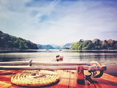 Up front... (Kerriemeister) Tags: mountains water lakedistrict snapseed mextures samsungs8 mobilephotography rope boat launch keswick derwentwater