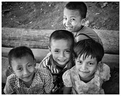 Four friends (AEChown) Tags: children friends myanmar monochrome portrait mono blackandwhite