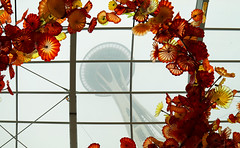 Needle in the Garden 2 (studioferullo) Tags: architecture art beauty bright building colorful colourful colors colours contrast dark design detail edge light metal natural perspective pattern pretty scene sky study texture tone world glass house needle space persian window sculpture chihuly seattle washington