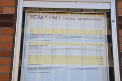 Upcoming at Meany Hall (afagen) Tags: seattle washingtonstate universitydistrict universityofwashington campus meanyhallfortheperformingarts meanyhall sign societyfordevelopmentalbiology geneticssocietyofamerica