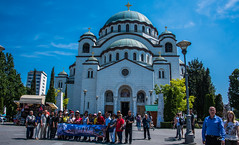 2018 - Serbia - Belgrade - Saint Sava Temple (Ted's photos - For Me & You) Tags: 2018 belgrade cropped nikon nikond750 nikonfx serbia tedmcgrath tedsphotos vignetting saintsavatemple saintsavatemplebelgrade serbianorthodoxchurch serbianorthodoxchurchbelgrade vračarplateau vračarplateaubelgrade bogdannestorović aleksandarderoko church churchdome cross orthodoxchurch people peopleandpaths pathsandpeople banner backpack bluesky blue shadow shadows streetlamp streetlight red redrule
