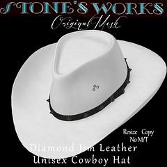 Diamond Jim Wht Leather Stone's Works (darkstoneaeon2) Tags: stonesworks secondlife avatar fashion hat cowboy cowgirl leather white