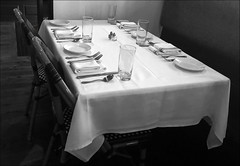 (Cliff Michaels) Tags: iphone8 photoshop pse9 table resaurant bw tablesetting