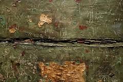 AN OBJECT'S REAR (INSCRIPTIONS) (LitterART) Tags: inschriften tyrol altar inscriptions geschichte history poetry schrift script signs zeichen symbole symbols green wood holz grün restauration art handscript ritzungen sgraffiti sony sonyrx100 handschrift