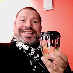 IMG_E4610 (danimaniacs) Tags: newyork manhattan selfportrait man guy drink smile mansolo beard scruff
